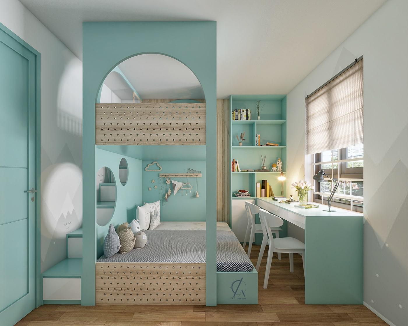 phòng ngủ bé gái màu xanh lam pastel