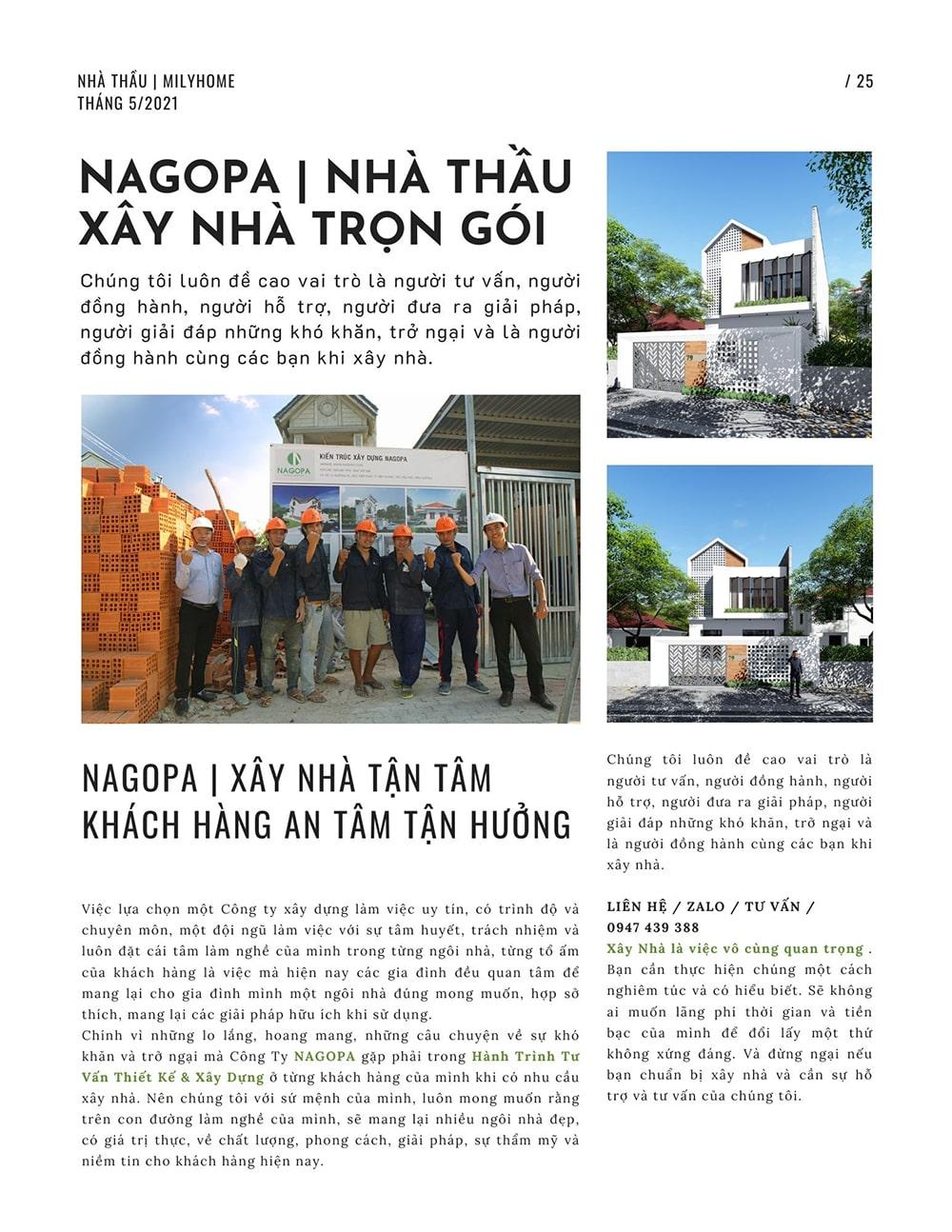 NAGOPA thiết kế xây dựng xây nhà tận tâm khách hàng an tâm tận hưởng