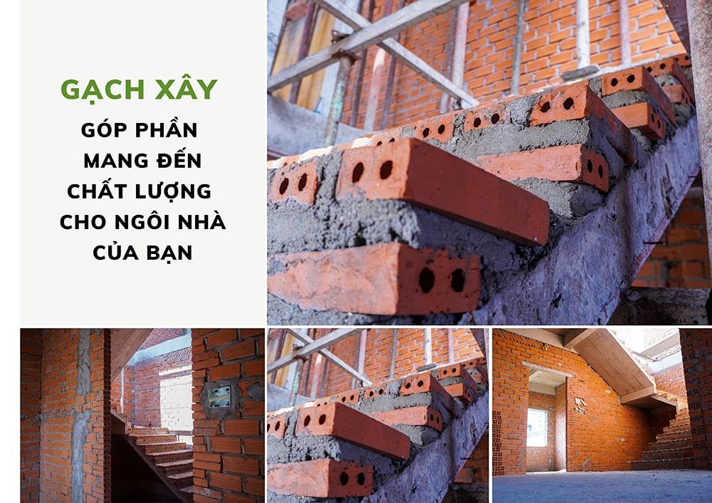 gạch xây trong các hạng mục thi công xây nhà