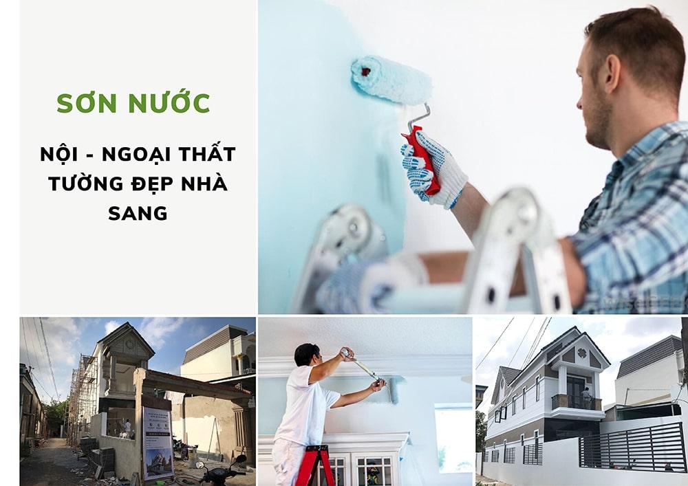 hoạt động sơn nước trong thi công xây nhà