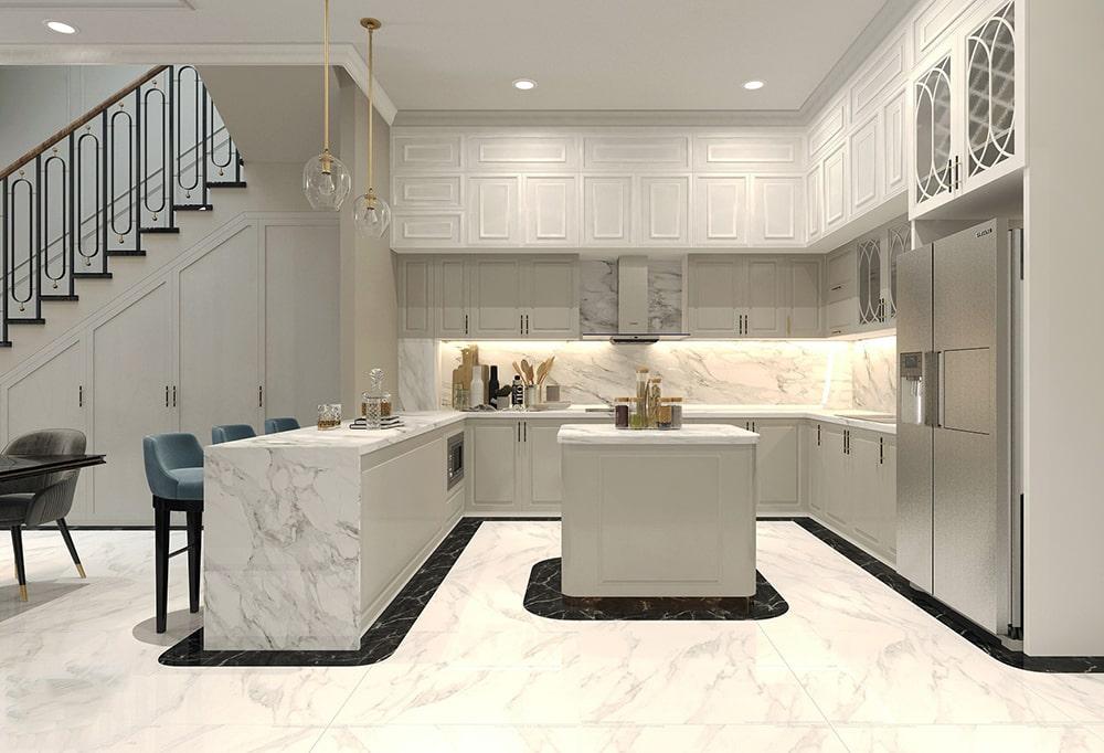 không gian phòng bếp nhà phố mang phong cách tân cổ điển