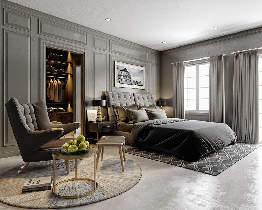 không gian phòng ngủ nhà phố mang phong cách tân cổ điển 1