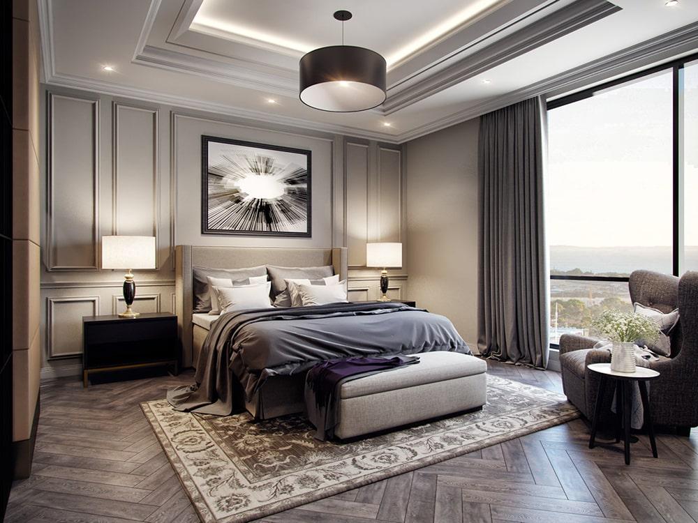 không gian phòng ngủ nhà phố mang phong cách tân cổ điển