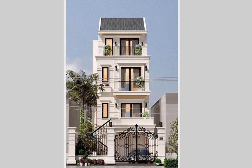 mẫu nhà phố tân cổ điển đẹp thiết kế 4 tầng 2