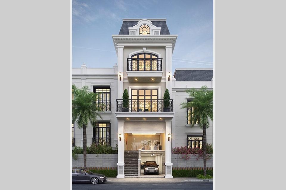 mẫu nhà phố tân cổ điển thiết kế 5 tầng