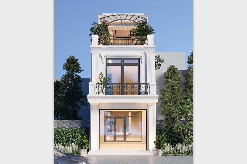 mẫu nhà phố tân cổ điển thiết kế 3 tầng