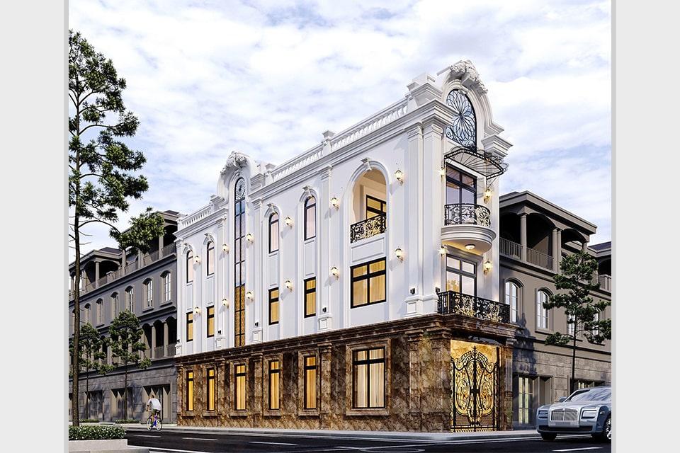 nhà phố tân cổ điển 3 tầng lô góc 2 mặt tiền