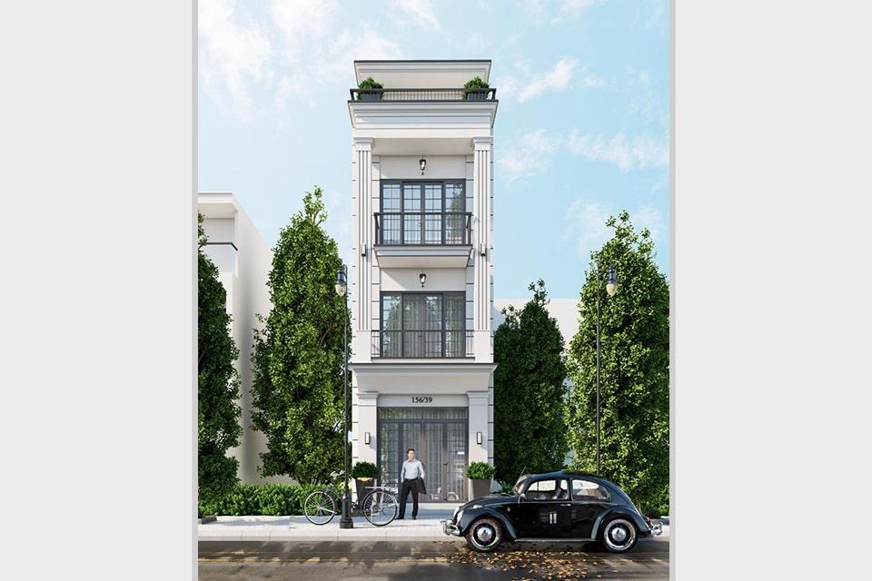 nhà phố tân cổ điển 4 tầng mặt tiền 5m 1