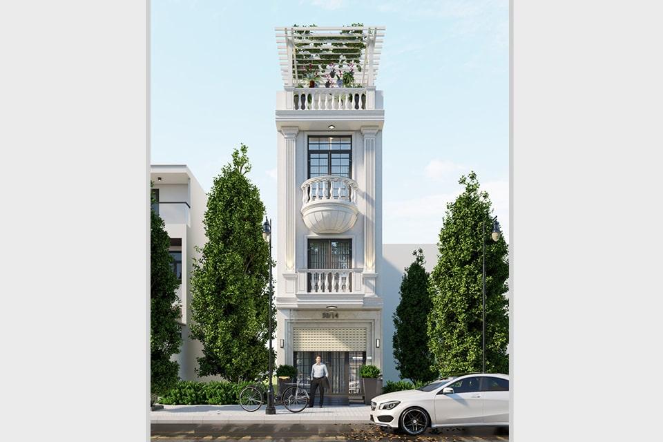 nhà phố tân cổ điển 4 tầng mặt tiền 5m