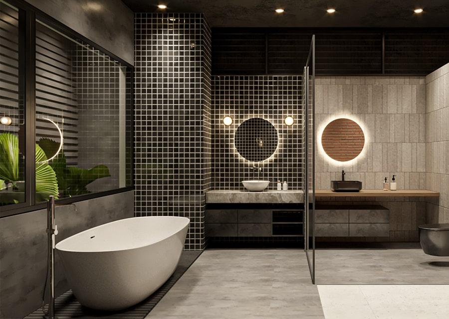 phòng tắm có bồn tắm nằm